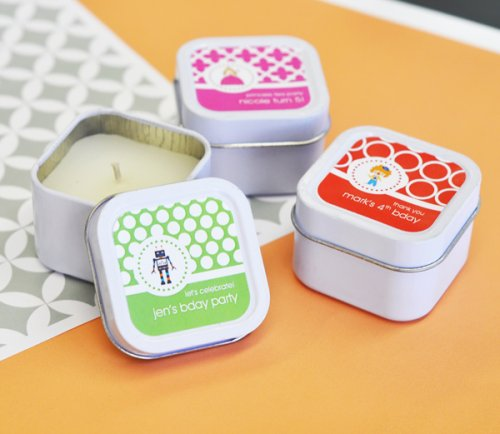 Mini Square Personalized Kids Birthday Candle Favors