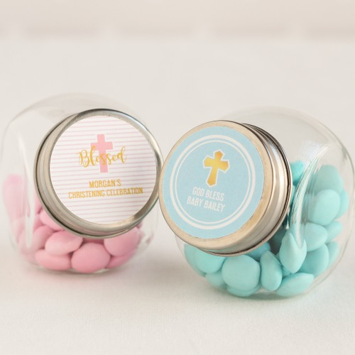 Personalized Mini Glass Baptism Candy Jars