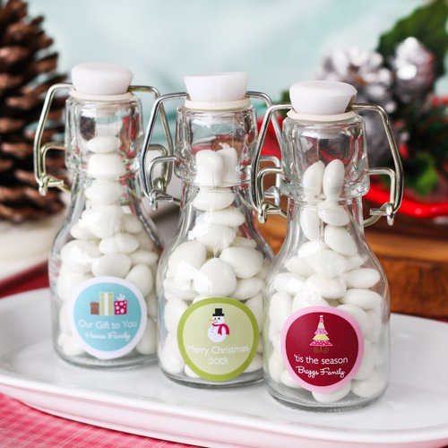 Personalized Holiday Mini Glass Bottle
