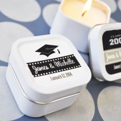 Mini Square Personalized Graduation Candle Favor