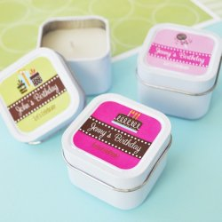Mini Square Personalized Teen Birthday Candle Favor