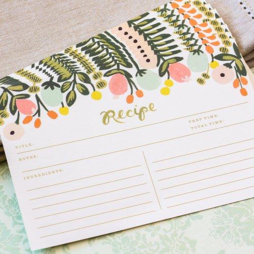 Floral Recipe Card Set
