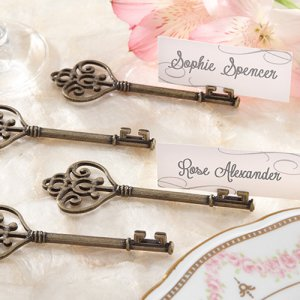 Vintage Heart Shaped Key Place Card Holders