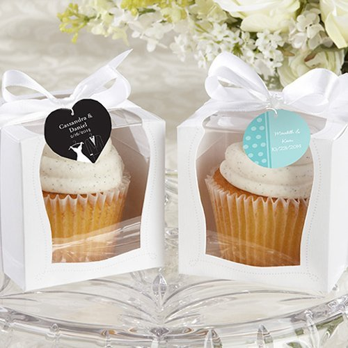 White Cupcake Boxes with Personalized Tags
