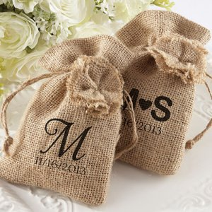 Personalized Burlap Favor Bags with Drawstring Ties