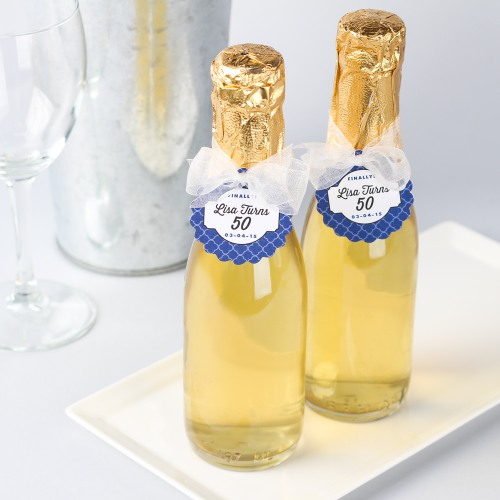 Sparkling Cider Mini Bottles with Personalized Tags