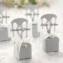 Silver Chair Favor Box Place Card Holders