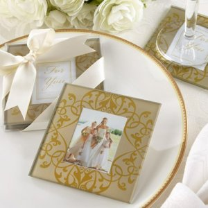 Golden Brocade Elegant Glass Photo Coasters