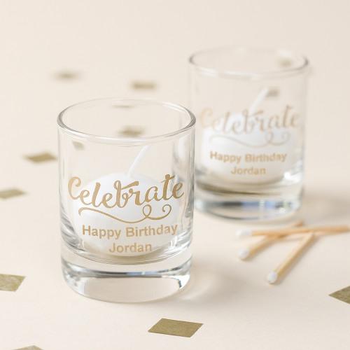Personalized Celebrate Shot Glass Votive Holders
