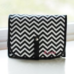 Personalized Chevron Hanging Cosmetic Bag Grooming Set