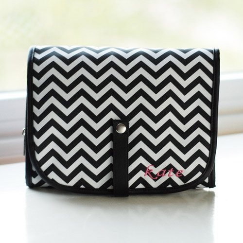 Personalized Chevron Cosmetic Bag Grooming Set