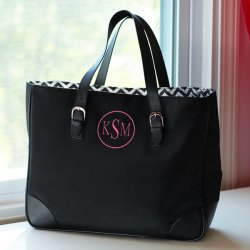 Personalized Black Chevron Tote Bag