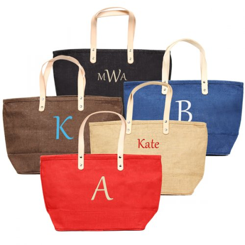 Personalized Color Natural Jute Tote Bag