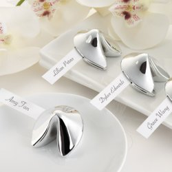 Silver Fortune Cookie Place Card Holder