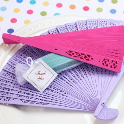 Color Wood Panel Hand Fan with Organza Bag