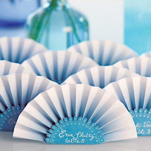 Ombre Paper Fan Place Cards