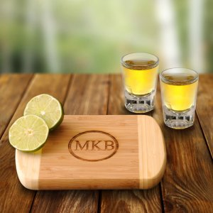 Personalized Bamboo Bar Board and Shot Glass Set