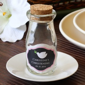 Personalized Religious Vintage Milk Favor Jars