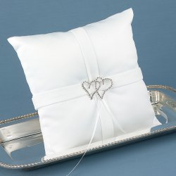 Rhinestone Linked Hearts Ring Pillow