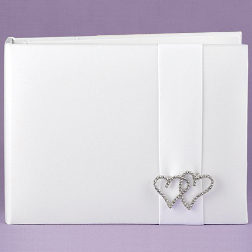 Rhinestone Linked Hearts Guest Book