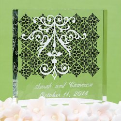 Personalized Black and White Design Cake Topper