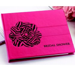 Pink Zebra Print Bridal Shower Guest Book