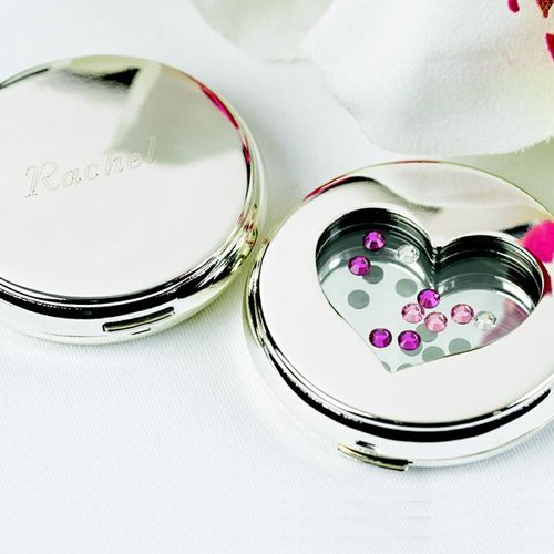 Personalized Jewel Heart Compact Mirror