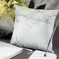 Classic White Love Birds Ring Bearer Pillow