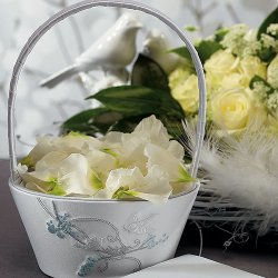 Classic White Love Birds Flower Girl Basket