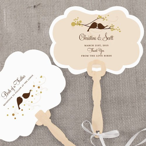 Personalized Love Birds Hand Fans