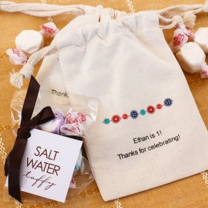 Taffy Candies in Personalized Natural Cotton Favor Bag
