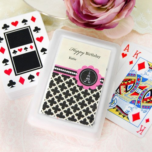 Personalized Paris Birthday Themed Playing Cards