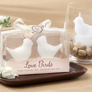 White Love Birds Tea Light Candles