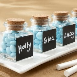 Chalkboard Glass and Cork Favor Jars