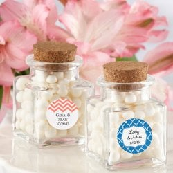 Personalized Square Glass Favor Jar with Cork Stopper