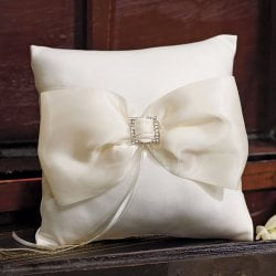 Elegant Satin Bow Ring Pillow