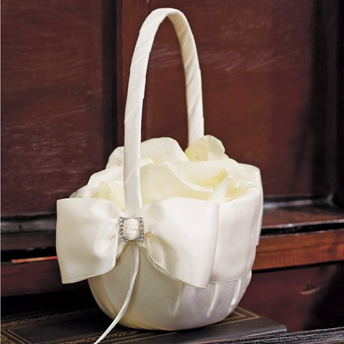 Elegant Satin Bow Flower Basket