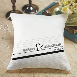 Personalized Contemporary Black and White Ring Pillow