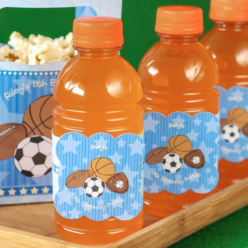 Personalized Kids Birthday Sports Water Bottle Label