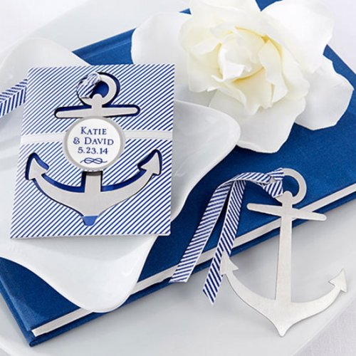 Personalized Nautical Theme Brushed Metal Bookmark