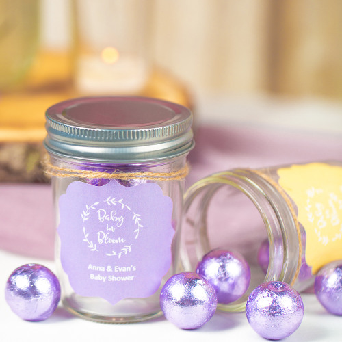 Personalized Baby in Bloom Baby Shower Mason Jars