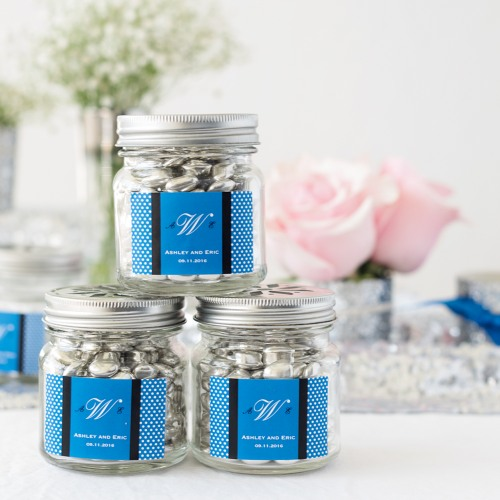 Personalized Mason Jars with Flower Lids and Straws
