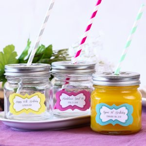 Personalized Birthday Mason Jars with Flower Lids and Straws