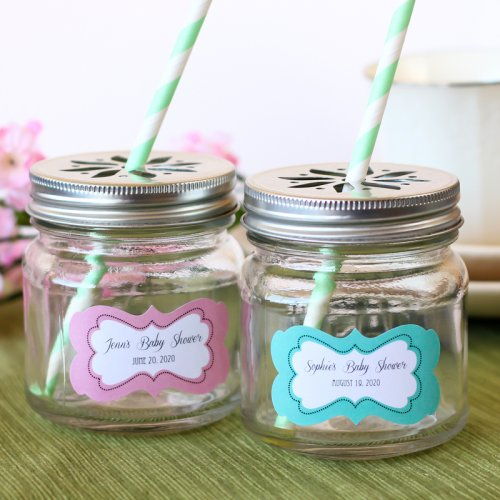 personalized baby mason jars with flower lids and for a baby shower