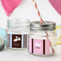 Personalized Baby Mason Jars with Flower Lids and Straws