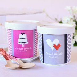 Personalized Bridal Ice Cream Pint Containers