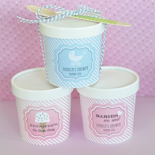 baby shower ice cream pint containers