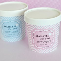 Personalized Baby Shower Ice Cream Pint Containers