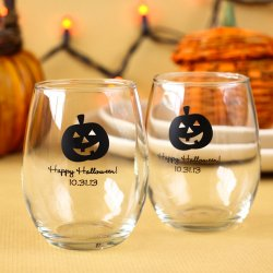 Personalized Halloween Stemless Wine Glass