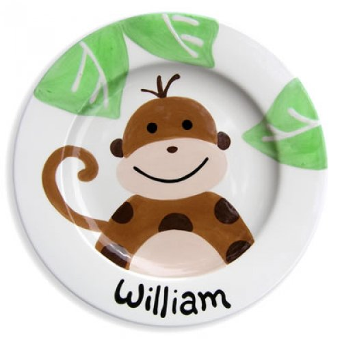 Personalized Hand-Painted Monkey Ceramic Plate